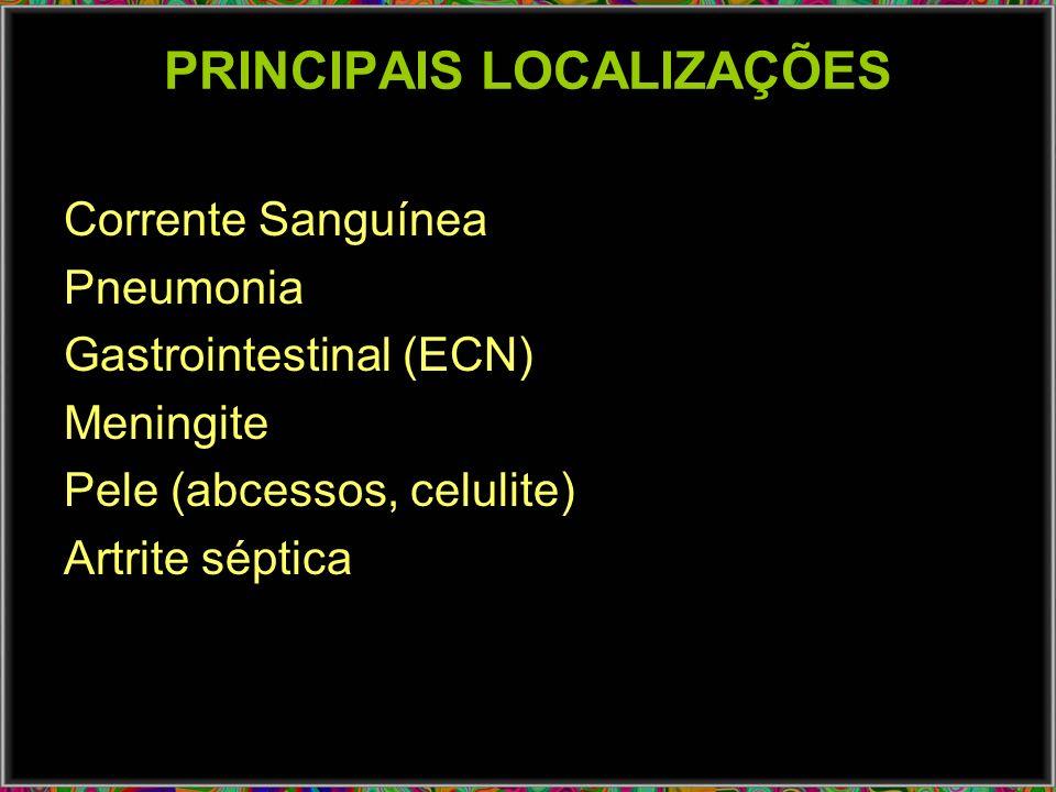 PRINCIPAIS LOCALIZAÇÕES Corrente Sanguínea Pneumonia Gastrointestinal (ECN) Meningite Pele (abcessos, celulite) Artrite séptica