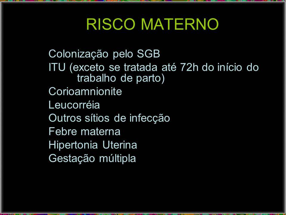RISCO MATERNO Colonização pelo SGB ITU (exceto se tratada até 72h do início do trabalho de parto) Corioamnionite Leucorréia Outros sítios de infecção