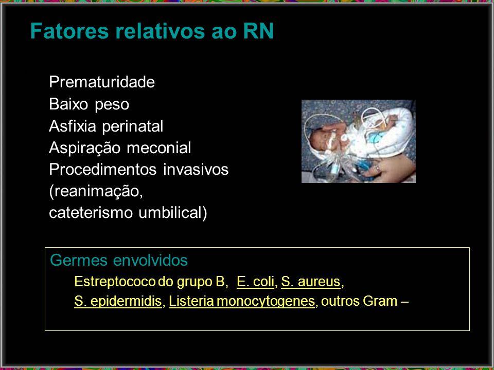 Fatores relativos ao RN Prematuridade Baixo peso Asfixia perinatal Aspiração meconial Procedimentos invasivos (reanimação, cateterismo umbilical) Germ