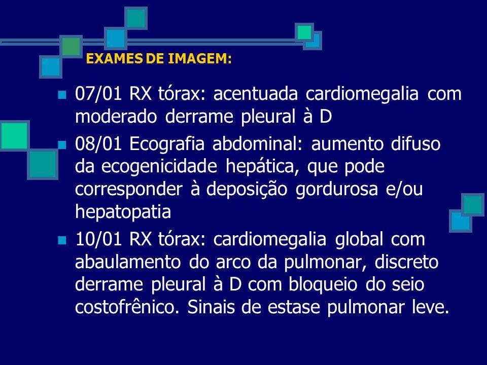 EXAMES DE IMAGEM: 07/01 RX tórax: acentuada cardiomegalia com moderado derrame pleural à D 08/01 Ecografia abdominal: aumento difuso da ecogenicidade