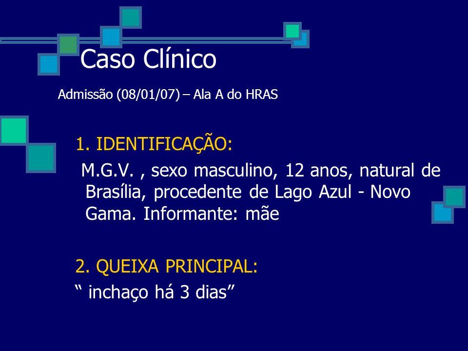 Caso Clínico Admissão (08/01/07) – Ala A do HRAS 1. IDENTIFICAÇÃO: M.G.V., sexo masculino, 12 anos, natural de Brasília, procedente de Lago Azul - Nov
