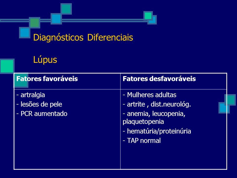 Diagnósticos Diferenciais Lúpus Fatores favoráveisFatores desfavoráveis - artralgia - lesões de pele - PCR aumentado - Mulheres adultas - artrite, dis
