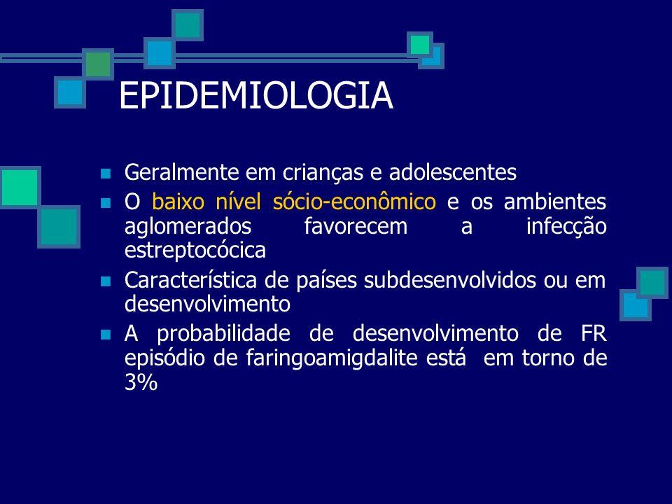 EPIDEMIOLOGIA Geralmente em crianças e adolescentes O baixo nível sócio-econômico e os ambientes aglomerados favorecem a infecção estreptocócica Carac