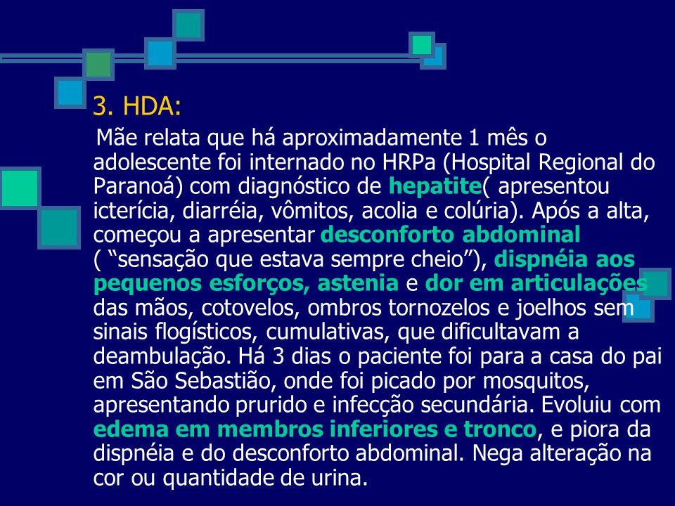 3. HDA: Mãe relata que há aproximadamente 1 mês o adolescente foi internado no HRPa (Hospital Regional do Paranoá) com diagnóstico de hepatite( aprese
