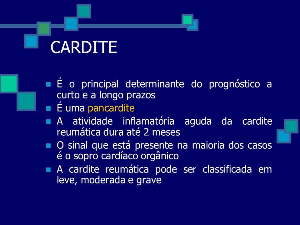 CARDITE É o principal determinante do prognóstico a curto e a longo prazos É uma pancardite A atividade inflamatória aguda da cardite reumática dura a