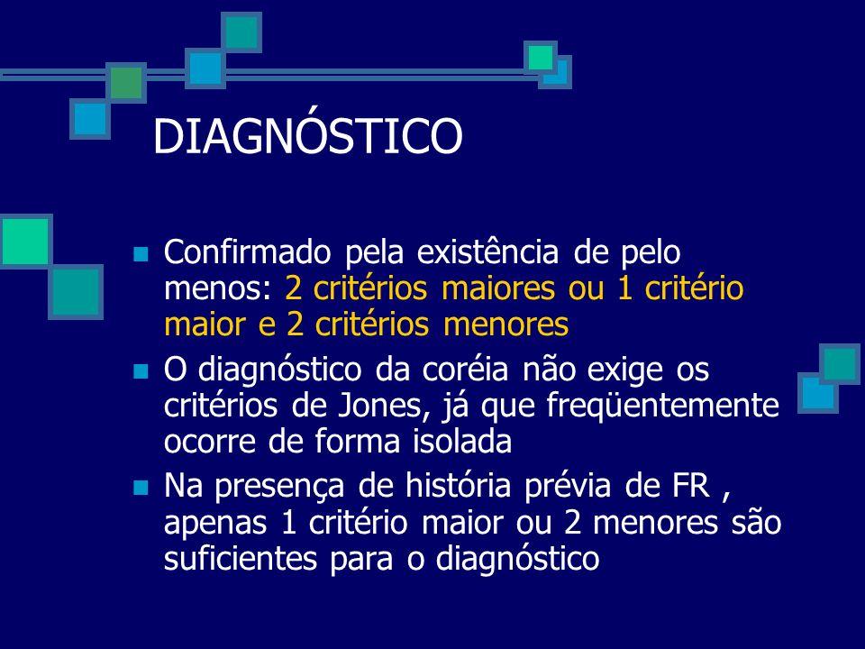 DIAGNÓSTICO Confirmado pela existência de pelo menos: 2 critérios maiores ou 1 critério maior e 2 critérios menores O diagnóstico da coréia não exige
