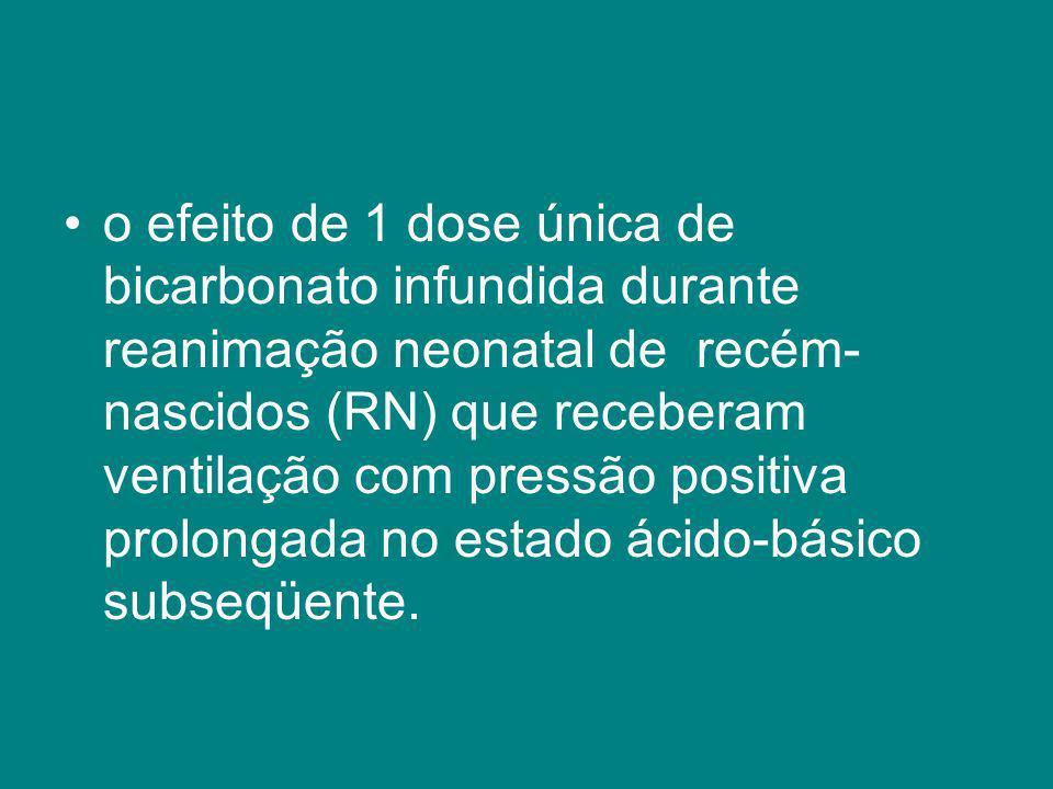 o efeito de 1 dose única de bicarbonato infundida durante reanimação neonatal de recém- nascidos (RN) que receberam ventilação com pressão positiva pr