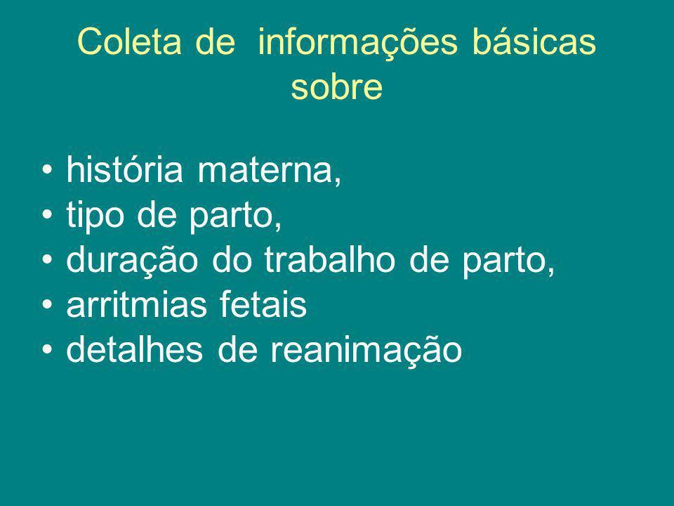 Coleta de informações básicas sobre história materna, tipo de parto, duração do trabalho de parto, arritmias fetais detalhes de reanimação