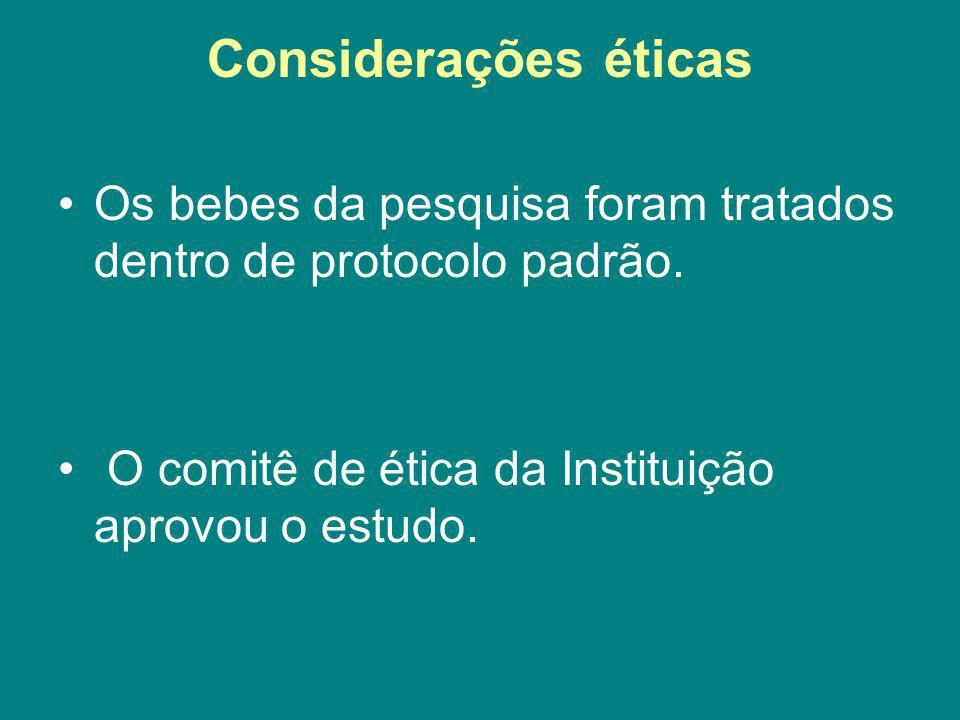Considerações éticas Os bebes da pesquisa foram tratados dentro de protocolo padrão. O comitê de ética da Instituição aprovou o estudo.