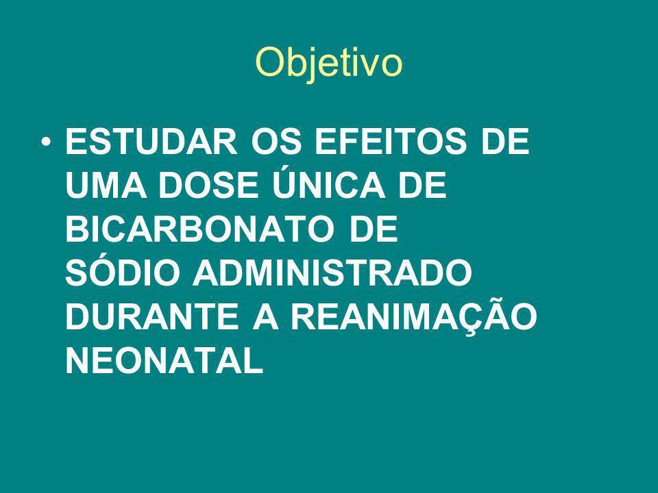 Objetivo ESTUDAR OS EFEITOS DE UMA DOSE ÚNICA DE BICARBONATO DE SÓDIO ADMINISTRADO DURANTE A REANIMAÇÃO NEONATAL