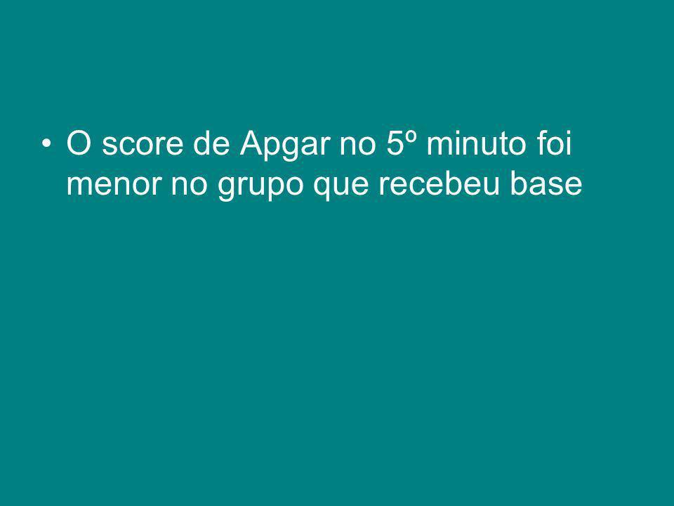 O score de Apgar no 5º minuto foi menor no grupo que recebeu base