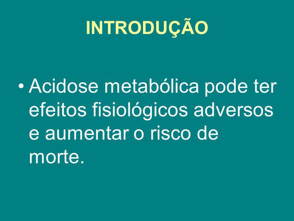 O tratamento da acidose metabólica inclui o uso de álcalis como o bicarbonato de sódio e trometamina.