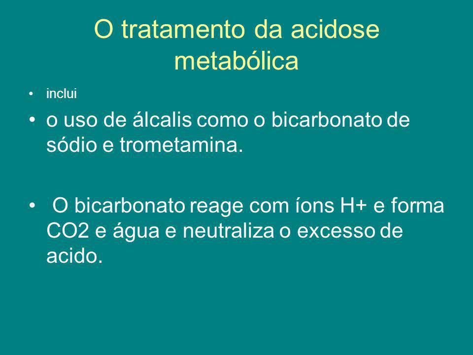 O tratamento da acidose metabólica inclui o uso de álcalis como o bicarbonato de sódio e trometamina. O bicarbonato reage com íons H+ e forma CO2 e ág
