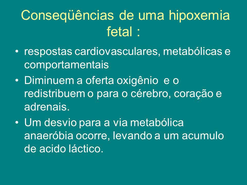 Conseqüências de uma hipoxemia fetal : respostas cardiovasculares, metabólicas e comportamentais Diminuem a oferta oxigênio e o redistribuem o para o