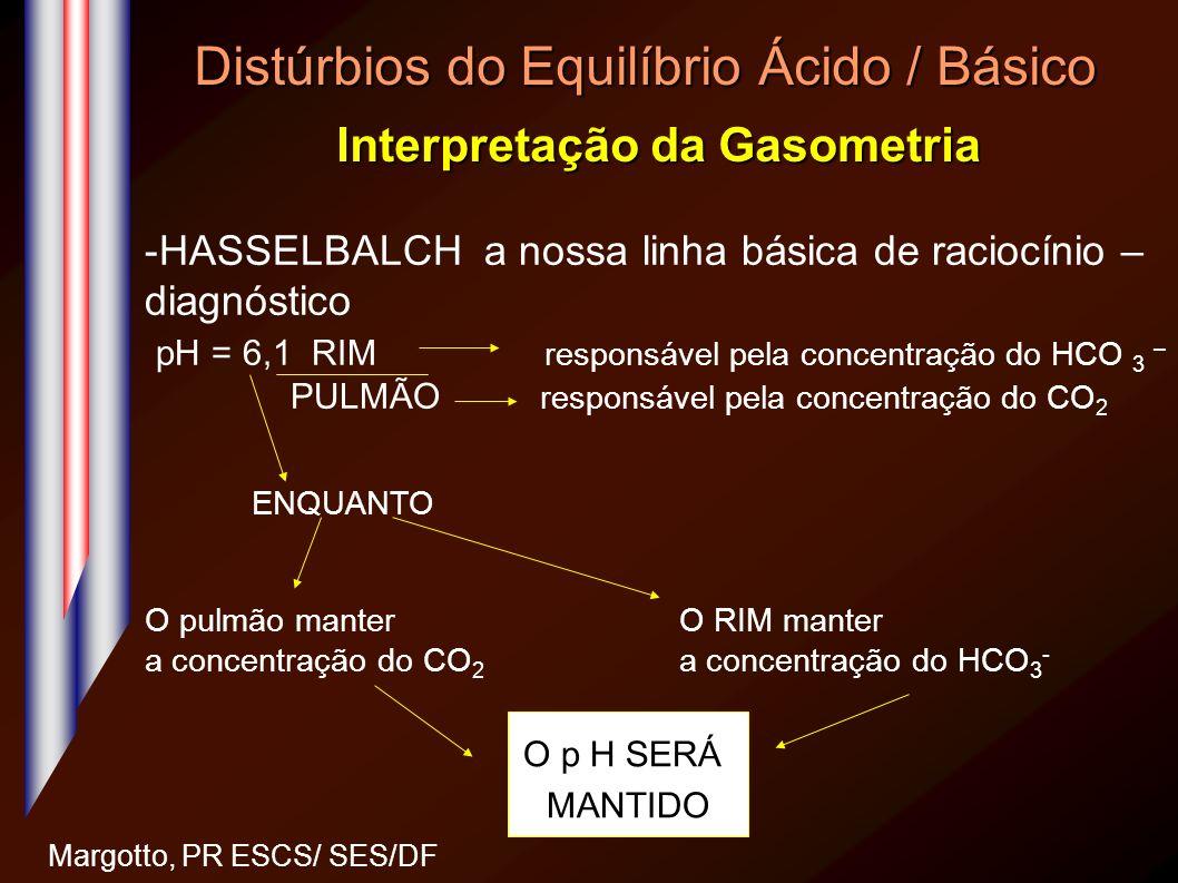 Distúrbios do Equilíbrio Ácido / Básico Interpretação da Gasometria Margotto, PR ESCS/ SES/DF -HASSELBALCH a nossa linha básica de raciocínio – diagnó
