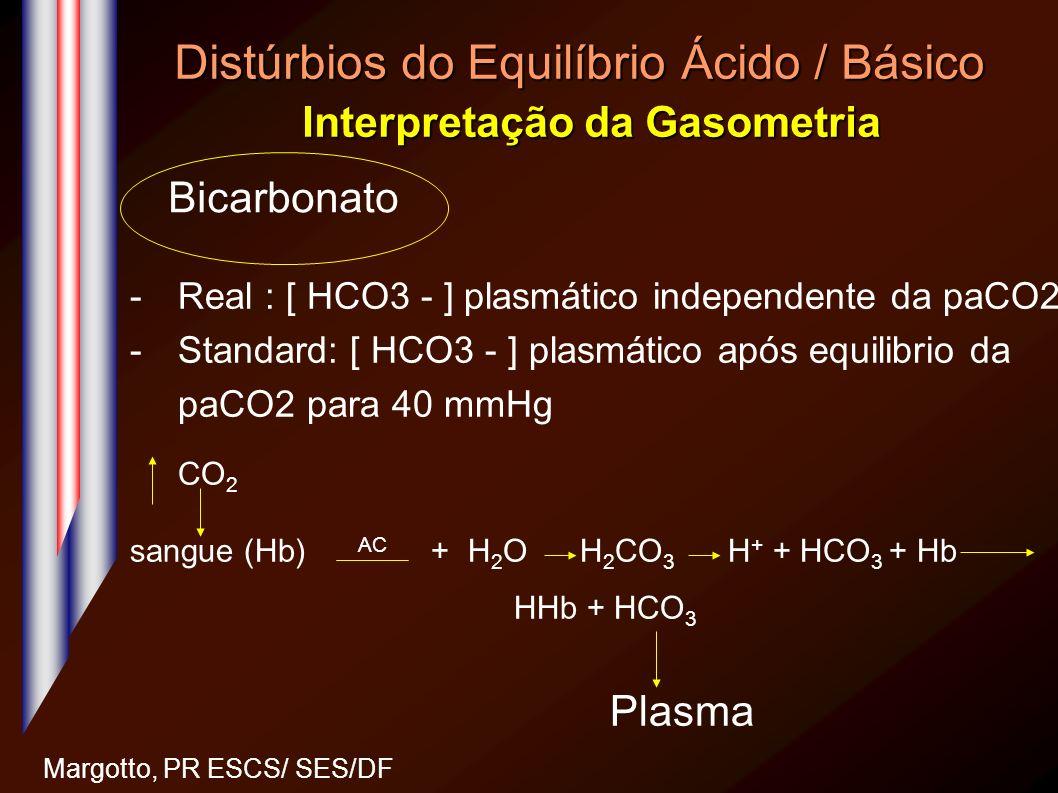Distúrbios do Equilíbrio Ácido / Básico Interpretação da Gasometria Margotto, PR ESCS/ SES/DF -Real : [ HCO3 - ] plasmático independente da paCO2 -Sta