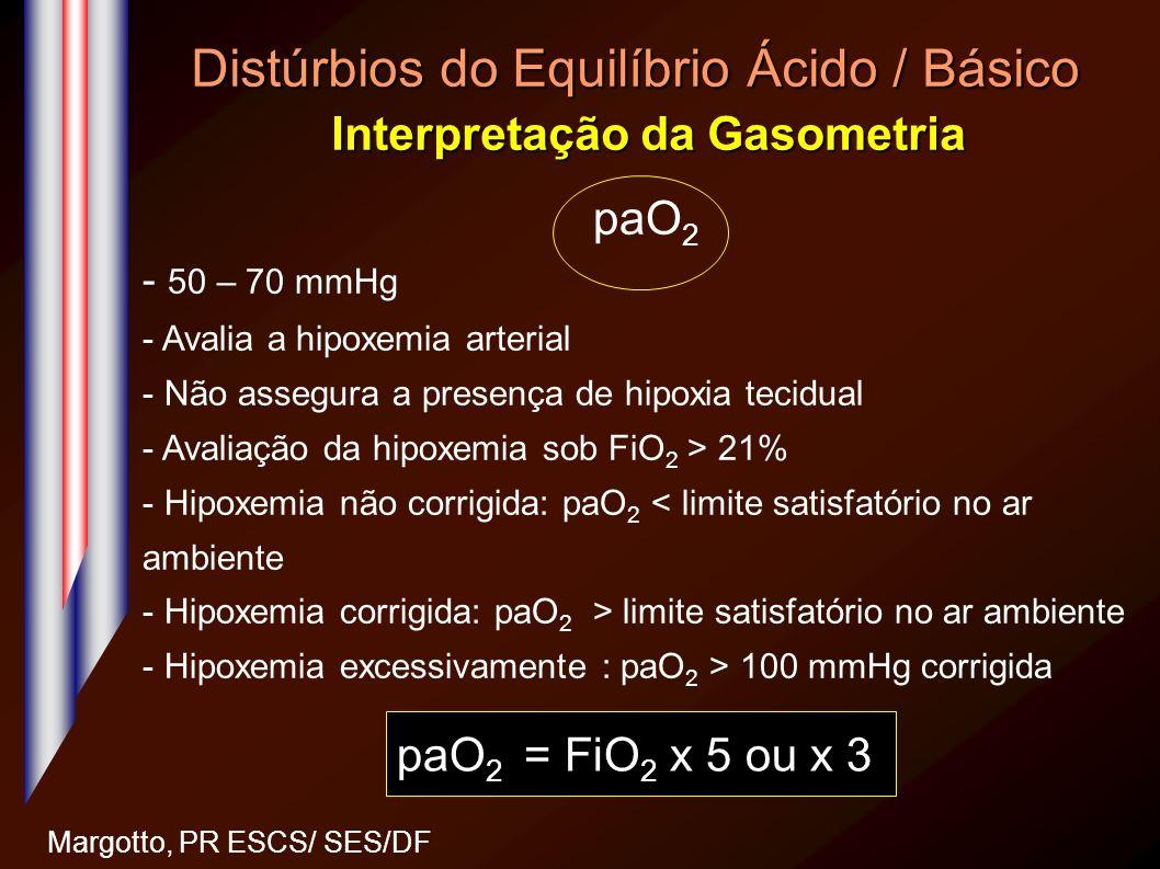 Distúrbios do Equilíbrio Ácido / Básico Interpretação da Gasometria Margotto, PR ESCS/ SES/DF paO 2 - 50 – 70 mmHg - Avalia a hipoxemia arterial - Não