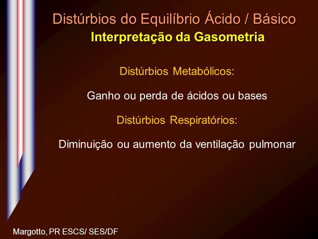 Distúrbios do Equilíbrio Ácido / Básico Interpretação da Gasometria Margotto, PR ESCS/ SES/DF Distúrbios Metabólicos: Ganho ou perda de ácidos ou base