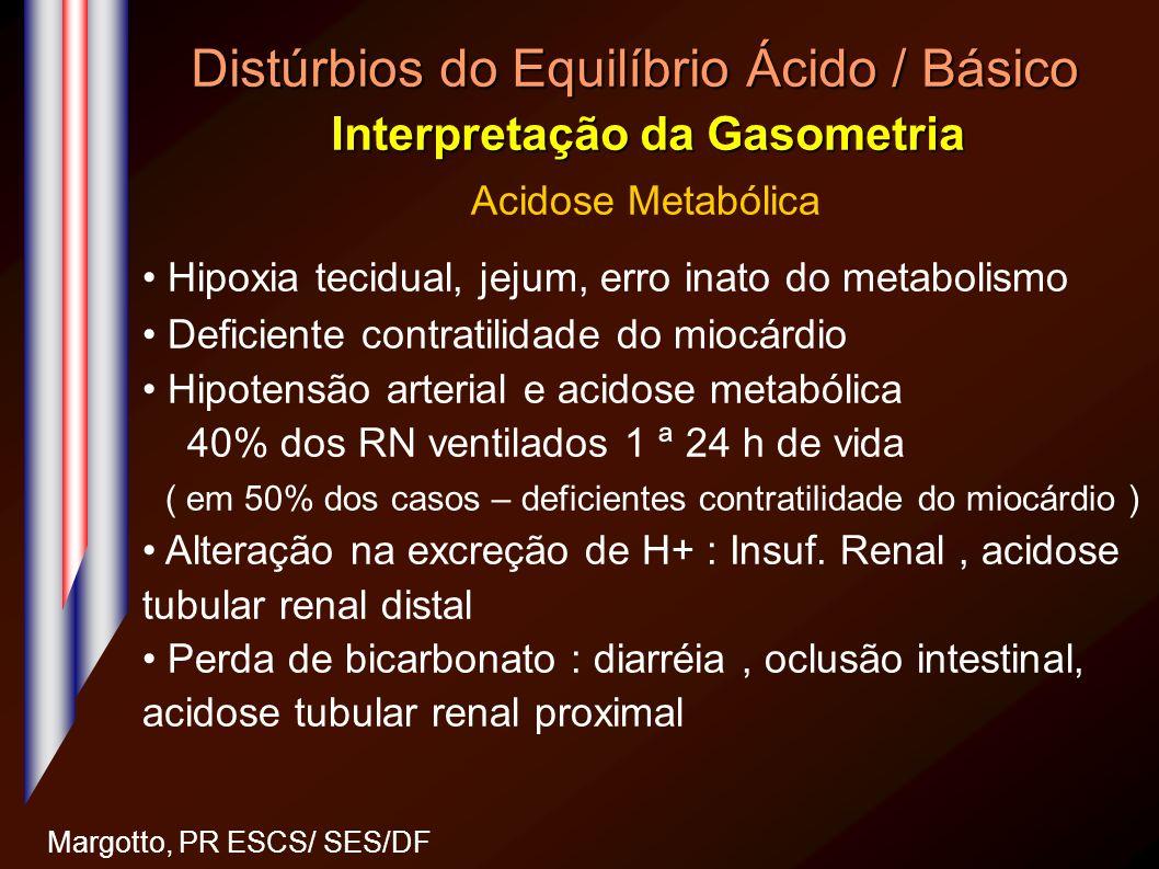 Distúrbios do Equilíbrio Ácido / Básico Interpretação da Gasometria Margotto, PR ESCS/ SES/DF Acidose Metabólica Hipoxia tecidual, jejum, erro inato d