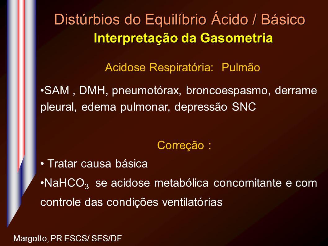 Distúrbios do Equilíbrio Ácido / Básico Interpretação da Gasometria Margotto, PR ESCS/ SES/DF Acidose Respiratória: Pulmão SAM, DMH, pneumotórax, bron