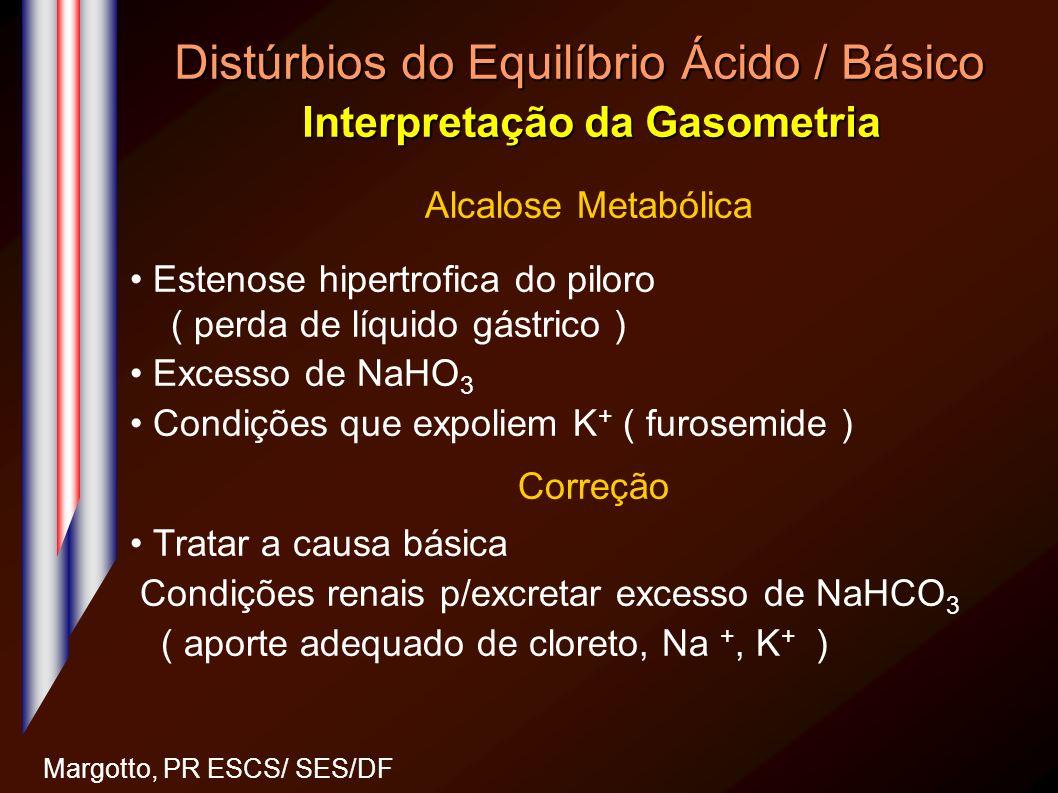 Distúrbios do Equilíbrio Ácido / Básico Interpretação da Gasometria Margotto, PR ESCS/ SES/DF Alcalose Metabólica Estenose hipertrofica do piloro ( pe