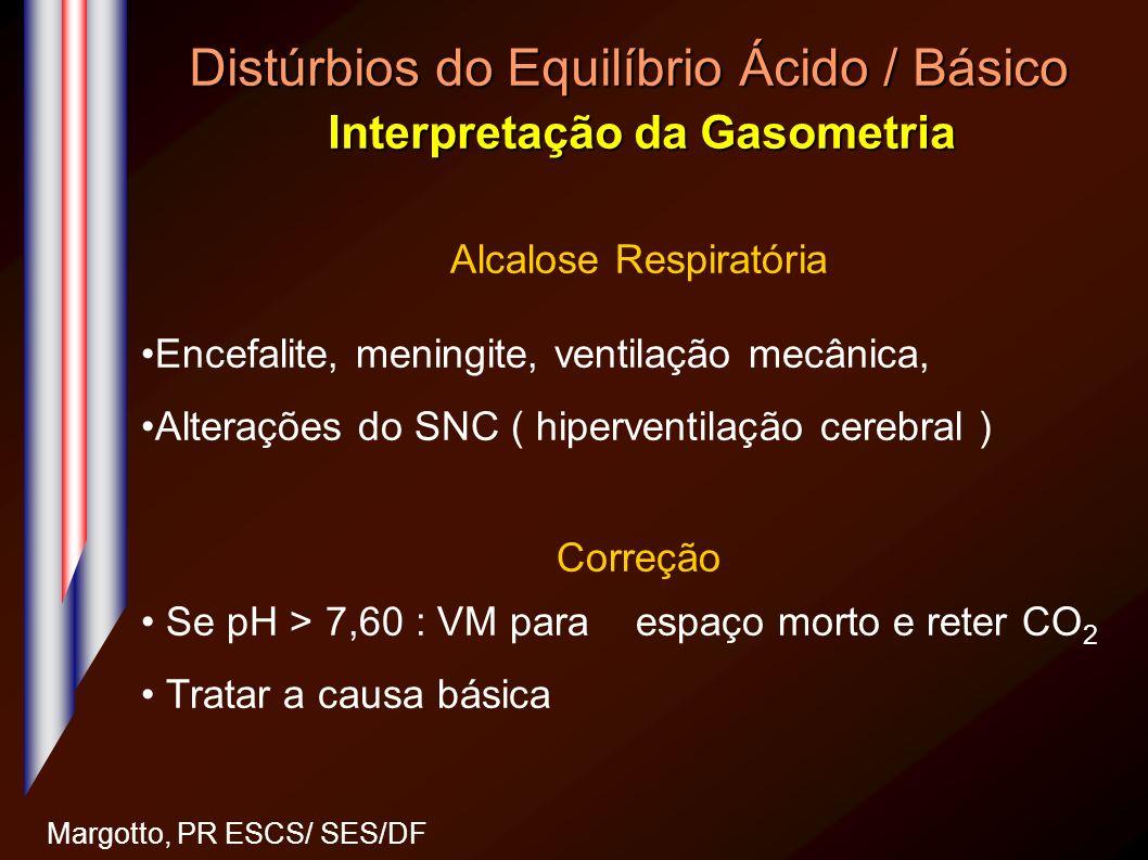 Distúrbios do Equilíbrio Ácido / Básico Interpretação da Gasometria Margotto, PR ESCS/ SES/DF Alcalose Respiratória Encefalite, meningite, ventilação