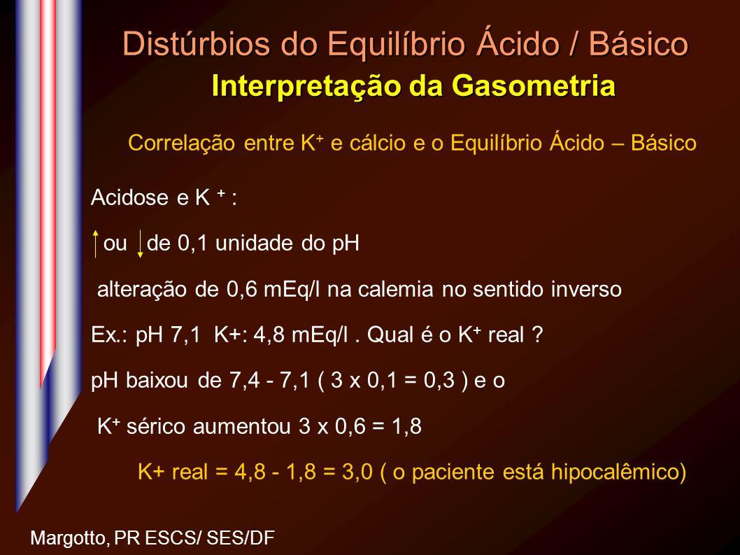 Distúrbios do Equilíbrio Ácido / Básico Interpretação da Gasometria Margotto, PR ESCS/ SES/DF Correlação entre K + e cálcio e o Equilíbrio Ácido – Bás