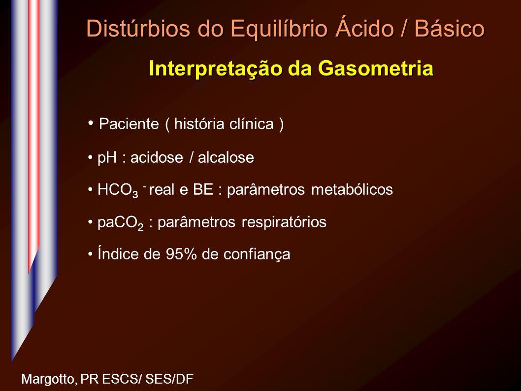 Distúrbios do Equilíbrio Ácido / Básico Interpretação da Gasometria Margotto, PR ESCS/ SES/DF Paciente ( história clínica ) pH : acidose / alcalose HC