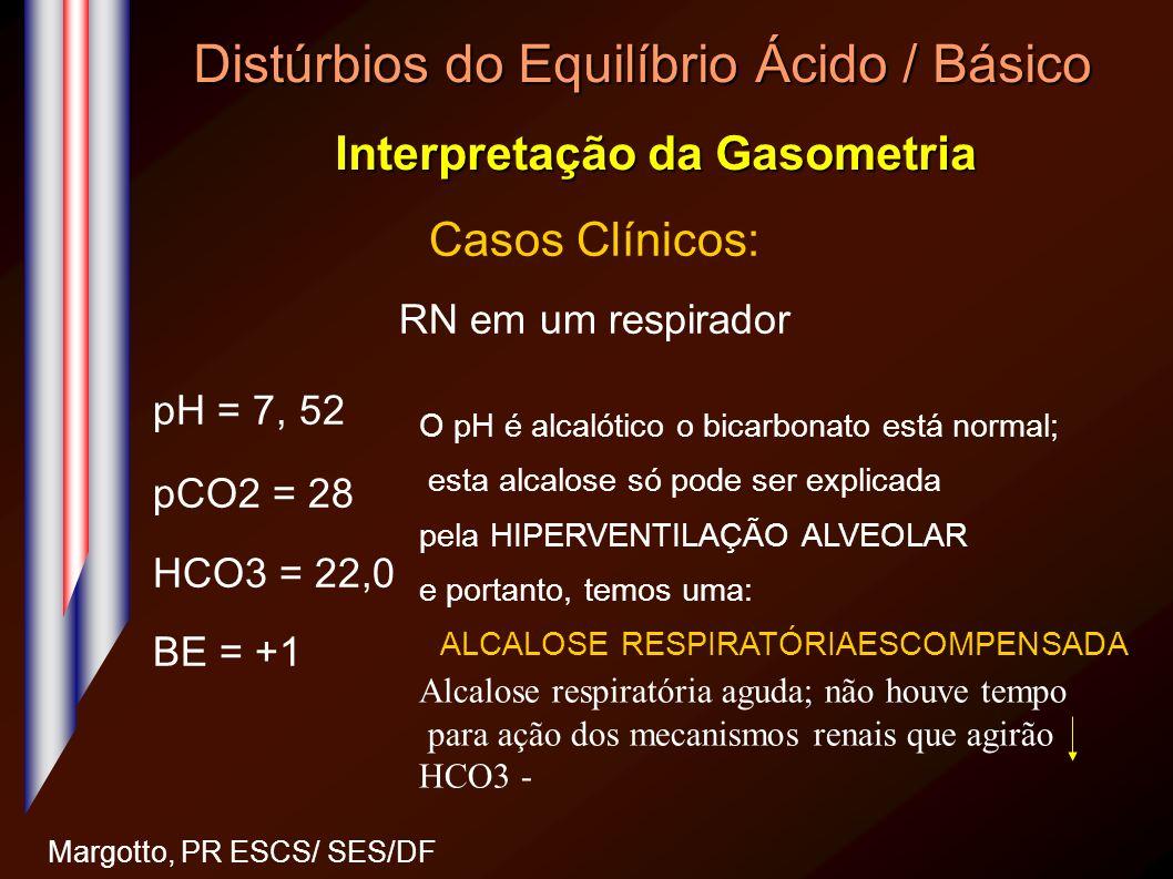 Distúrbios do Equilíbrio Ácido / Básico Interpretação da Gasometria Margotto, PR ESCS/ SES/DF Casos Clínicos: RN em um respirador pH = 7, 52 pCO2 = 28