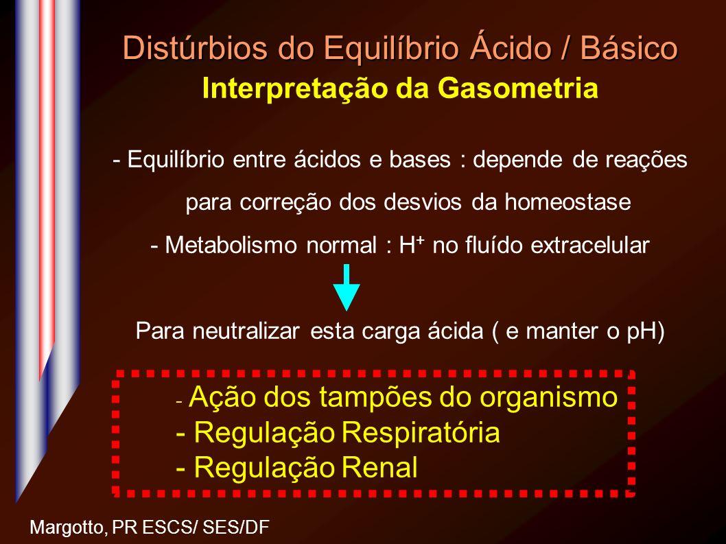 Distúrbios do Equilíbrio Ácido / Básico Interpretação da Gasometria - Equilíbrio entre ácidos e bases : depende de reações para correção dos desvios d