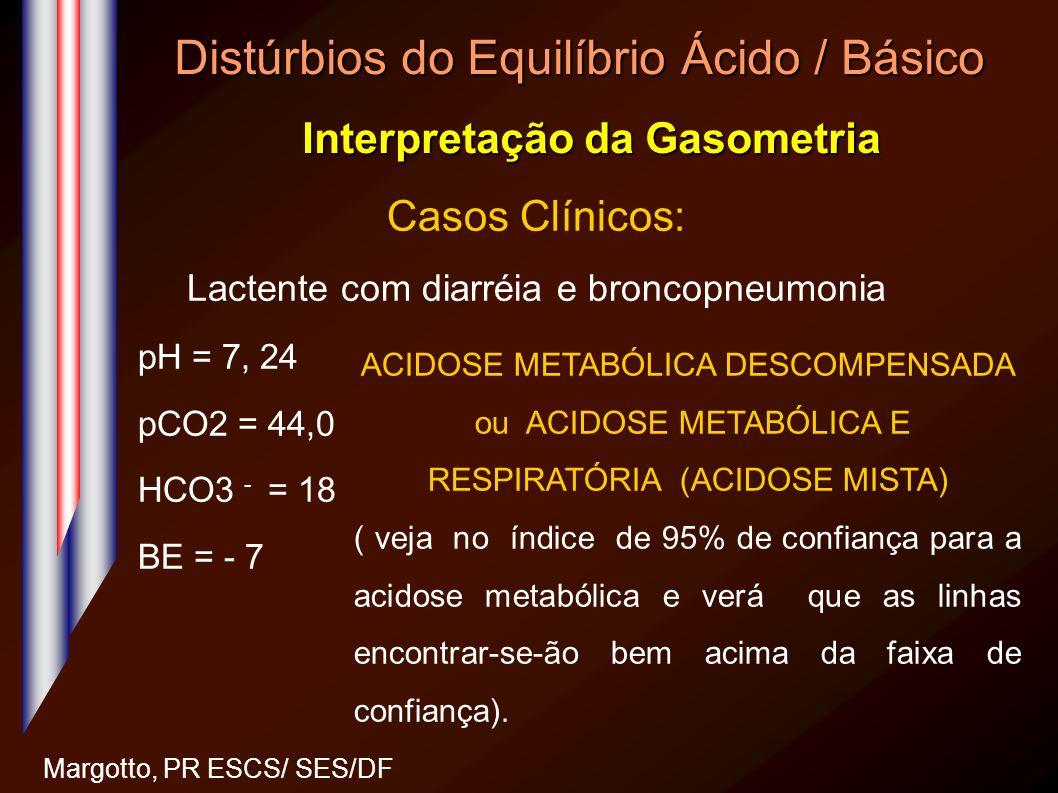 Distúrbios do Equilíbrio Ácido / Básico Interpretação da Gasometria Margotto, PR ESCS/ SES/DF Casos Clínicos: Lactente com diarréia e broncopneumonia