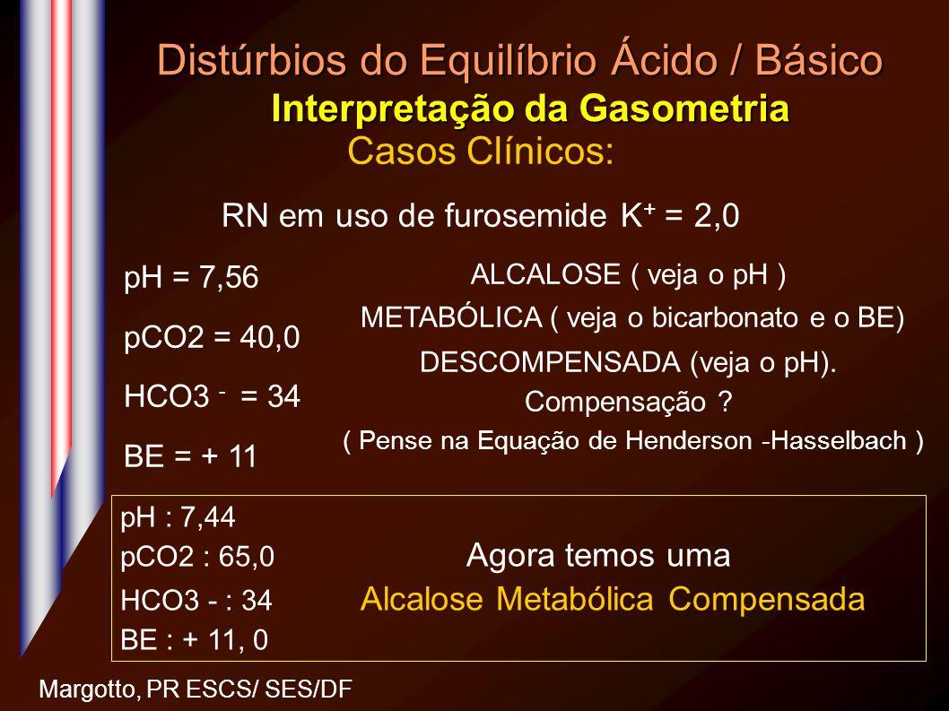 Distúrbios do Equilíbrio Ácido / Básico Interpretação da Gasometria Margotto, PR ESCS/ SES/DF Casos Clínicos: RN em uso de furosemide K + = 2,0 pH = 7