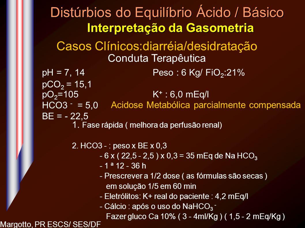 Distúrbios do Equilíbrio Ácido / Básico Interpretação da Gasometria Margotto, PR ESCS/ SES/DF Casos Clínicos:diarréia/desidratação Conduta Terapêutica