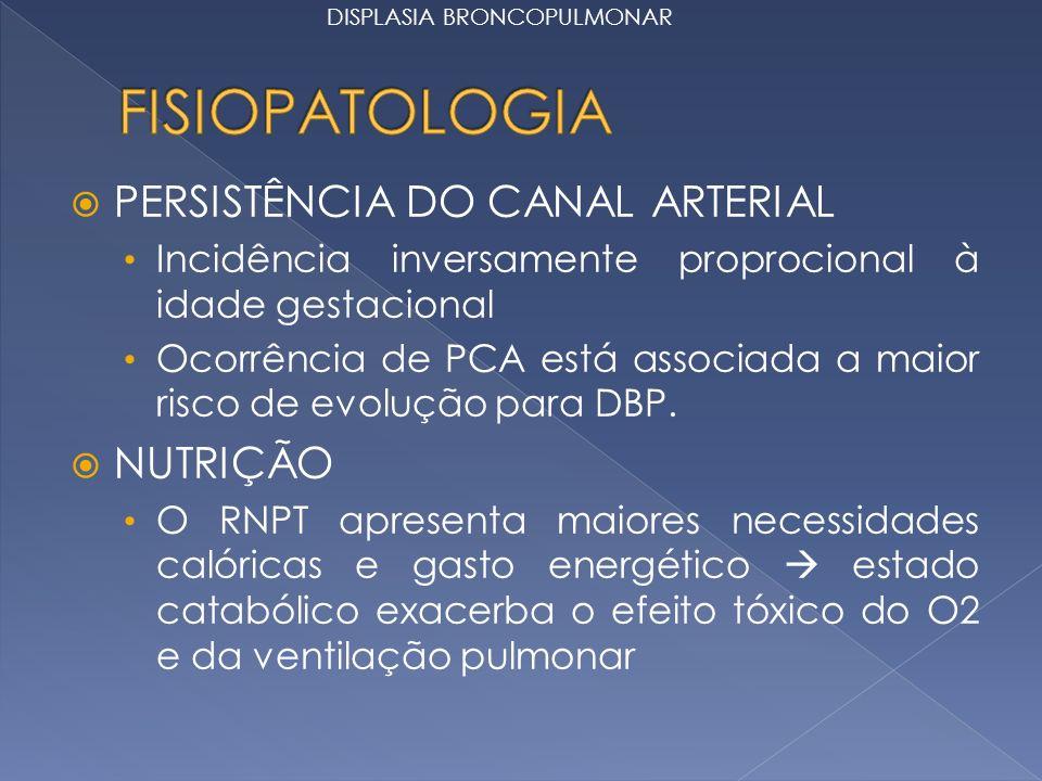 PERSISTÊNCIA DO CANAL ARTERIAL Incidência inversamente proprocional à idade gestacional Ocorrência de PCA está associada a maior risco de evolução para DBP.