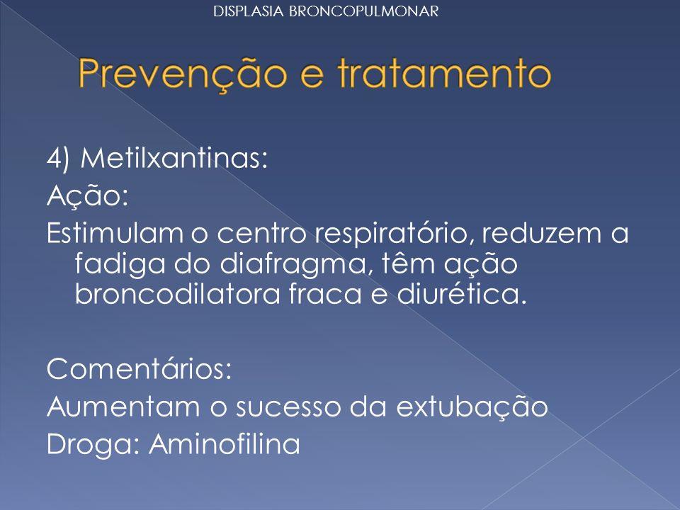 4) Metilxantinas: Ação: Estimulam o centro respiratório, reduzem a fadiga do diafragma, têm ação broncodilatora fraca e diurética. Comentários: Aument