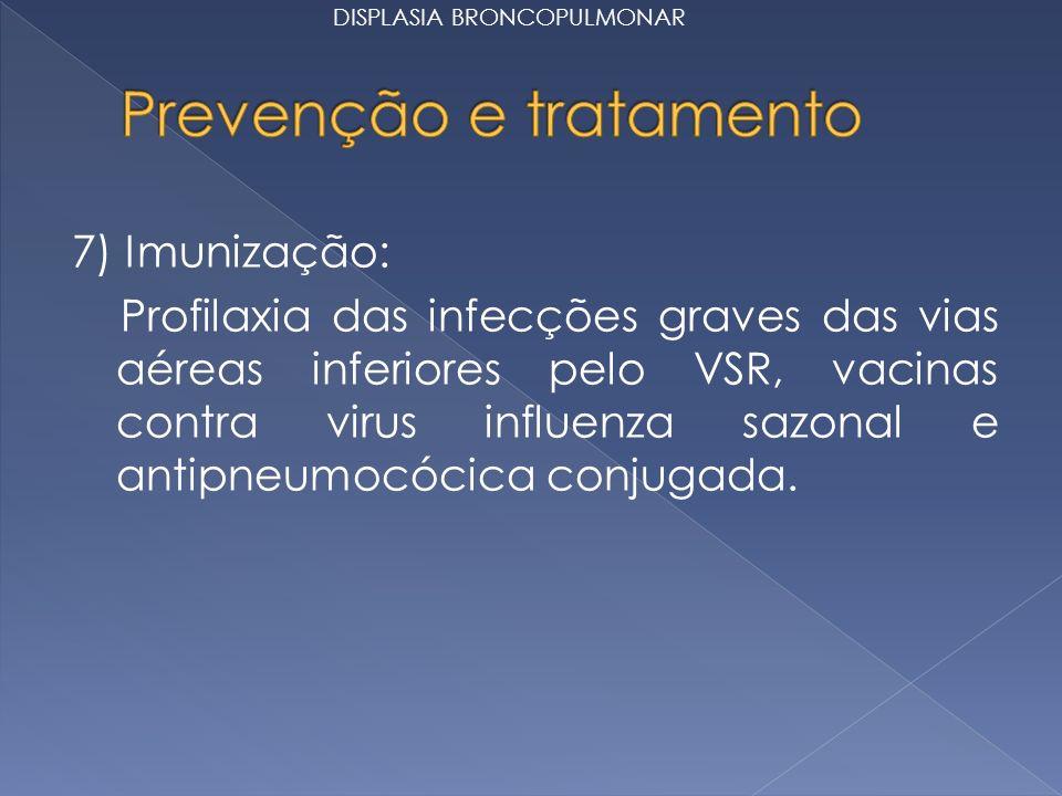 7) Imunização: Profilaxia das infecções graves das vias aéreas inferiores pelo VSR, vacinas contra virus influenza sazonal e antipneumocócica conjugada.