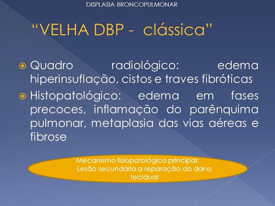 Quadro radiológico: edema hiperinsuflação, cistos e traves fibróticas Histopatológico: edema em fases precoces, inflamação do parênquima pulmonar, metaplasia das vias aéreas e fibrose Mecanismo fisiopatológico principal: Lesão secundária a reparação do dano tecidual DISPLASIA BRONCOPULMONAR
