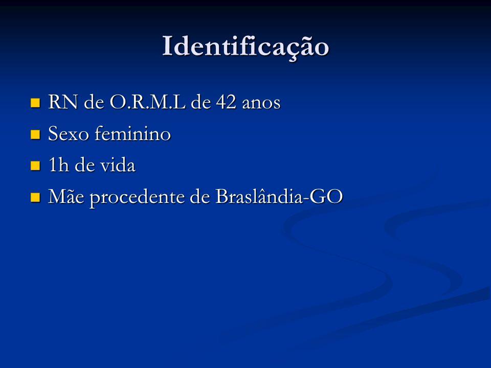 Identificação RN de O.R.M.L de 42 anos RN de O.R.M.L de 42 anos Sexo feminino Sexo feminino 1h de vida 1h de vida Mãe procedente de Braslândia-GO Mãe