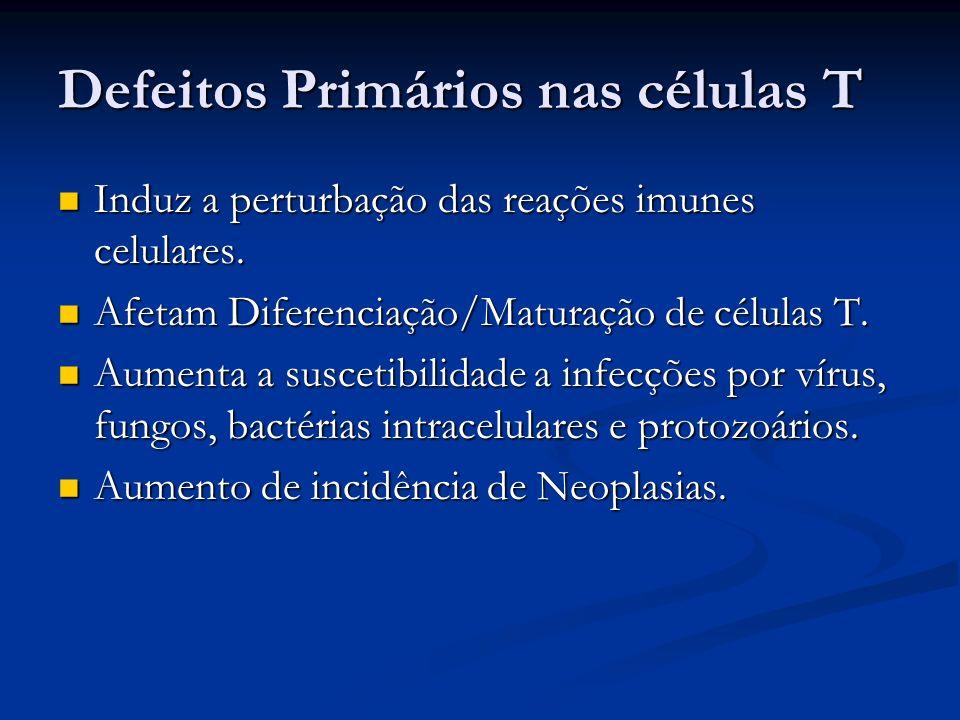 Defeitos Primários nas células T Induz a perturbação das reações imunes celulares. Induz a perturbação das reações imunes celulares. Afetam Diferencia