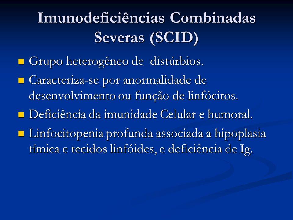 Imunodeficiências Combinadas Severas (SCID) Grupo heterogêneo de distúrbios. Grupo heterogêneo de distúrbios. Caracteriza-se por anormalidade de desen