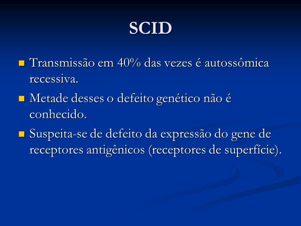 SCID Transmissão em 40% das vezes é autossômica recessiva. Transmissão em 40% das vezes é autossômica recessiva. Metade desses o defeito genético não
