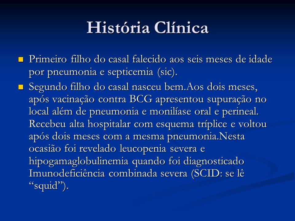 História Clínica Primeiro filho do casal falecido aos seis meses de idade por pneumonia e septicemia (sic). Primeiro filho do casal falecido aos seis