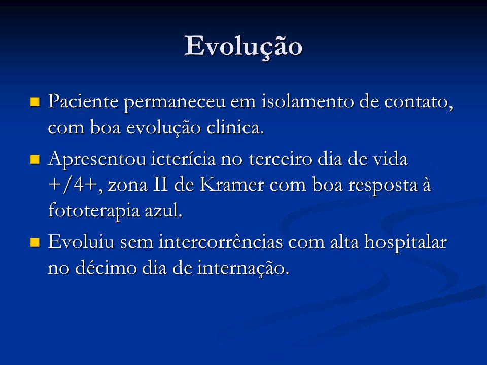 Evolução Paciente permaneceu em isolamento de contato, com boa evolução clinica. Paciente permaneceu em isolamento de contato, com boa evolução clinic