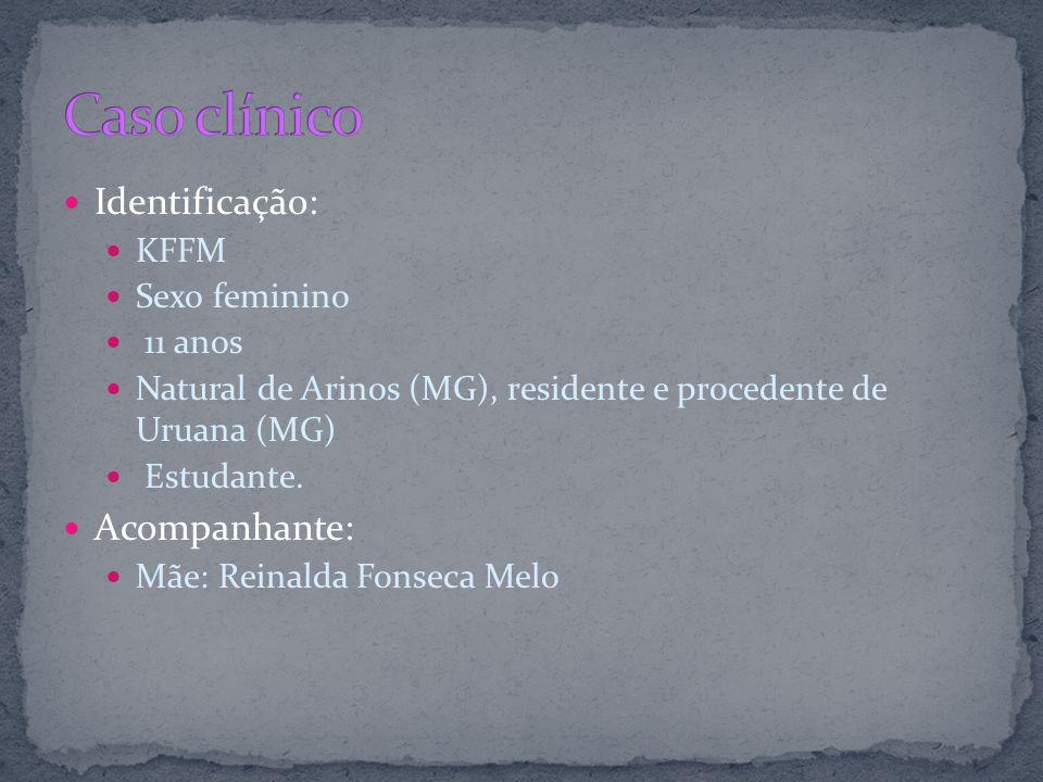 Identificação: KFFM Sexo feminino 11 anos Natural de Arinos (MG), residente e procedente de Uruana (MG) Estudante. Acompanhante: Mãe: Reinalda Fonseca