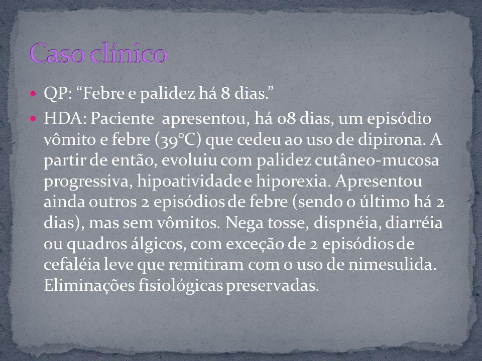 QP: Febre e palidez há 8 dias. HDA: Paciente apresentou, há 08 dias, um episódio vômito e febre (39°C) que cedeu ao uso de dipirona. A partir de então