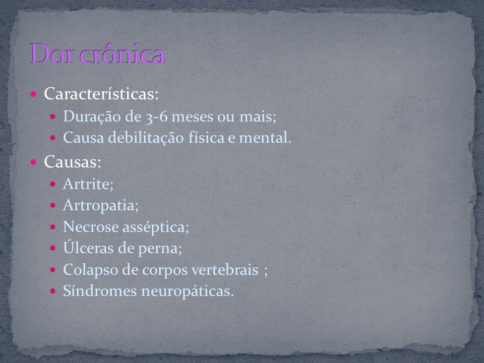 Características: Duração de 3-6 meses ou mais; Causa debilitação física e mental. Causas: Artrite; Artropatia; Necrose asséptica; Úlceras de perna; Co