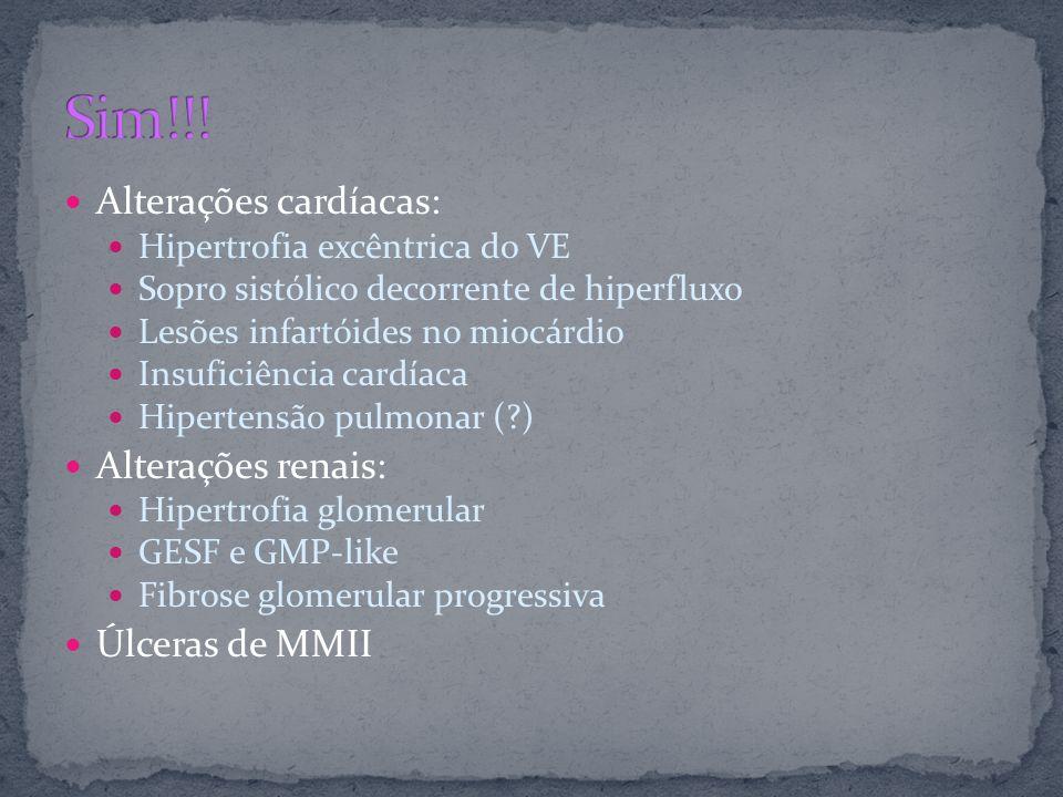 Alterações cardíacas: Hipertrofia excêntrica do VE Sopro sistólico decorrente de hiperfluxo Lesões infartóides no miocárdio Insuficiência cardíaca Hip