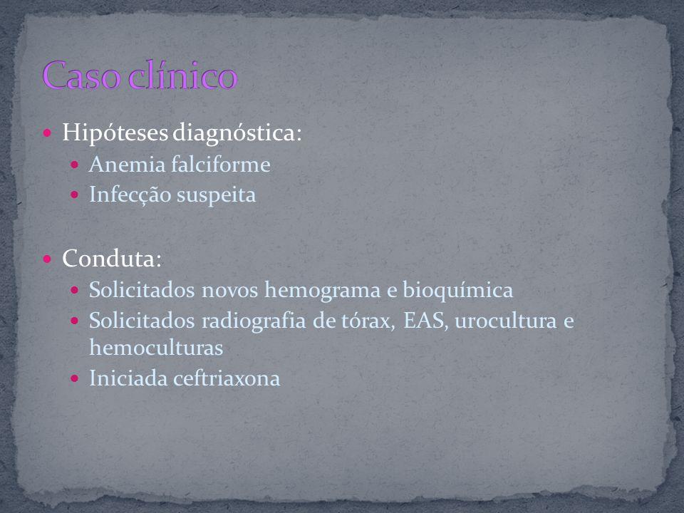 Hipóteses diagnóstica: Anemia falciforme Infecção suspeita Conduta: Solicitados novos hemograma e bioquímica Solicitados radiografia de tórax, EAS, ur