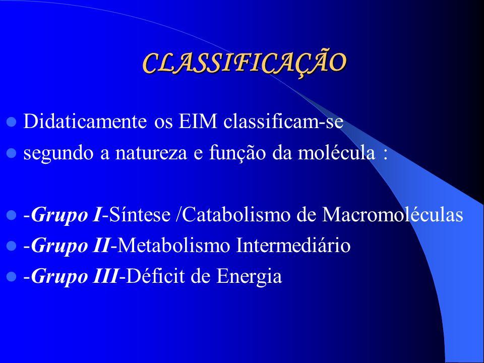 CLASSIFICAÇÃO Didaticamente os EIM classificam-se segundo a natureza e função da molécula : -Grupo I-Síntese /Catabolismo de Macromoléculas -Grupo II-