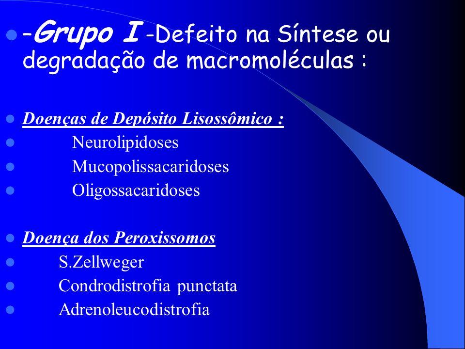 – Grupo I -Defeito na Síntese ou degradação de macromoléculas : Doenças de Depósito Lisossômico : Neurolipidoses Mucopolissacaridoses Oligossacaridose